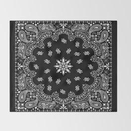 black and white bandana pattern Throw Blanket