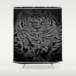 Big Cat Models: White Tiger Emboss 01-01 Shower Curtain
