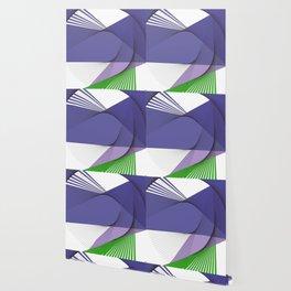 Geometric purple green abstract pattern Wallpaper