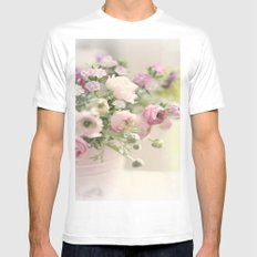DELICATE PASTEL PINK FLOWERS Mens Fitted Tee MEDIUM White