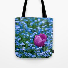 Pink Tulip in the blue Tote Bag