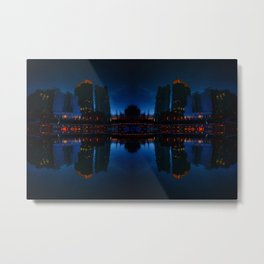 Nocturnal Reflection of a City Metal Print