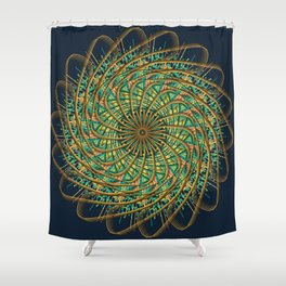 Mandala Art Pattern Yellow and Green Shower Curtain