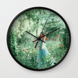 Вrunette girl wavy hair Hairstyle. green fairy forest. Medieval young beautiful woman Princess. blue vintage watercolor fluffy full dress, long train. Backdrop summer nature, garden trees red roses Wall Clock