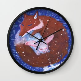 Rabbit and Fox Wall Clock