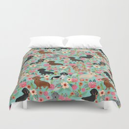 Dachshund floral dog breed pet patterns doxie dachsie gifts must haves Duvet Cover