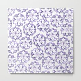 Hand drawn lavender white watercolor floral mandala pattern Metal Print