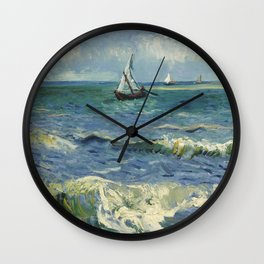 The Sea at Les Saintes-Maries-de-la-Mer by Vincent van Gogh Wall Clock