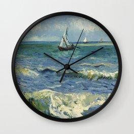 The Sea at Les Saintes-Maries-de-la-Mer by Vincent van Gogh Wall Clock
