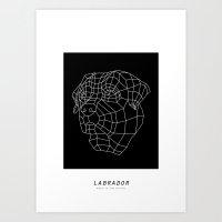 labrador Art Prints featuring labrador by The Paper Bag Fox