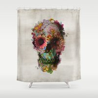 water color Shower Curtains featuring SKULL 2 by Ali GULEC