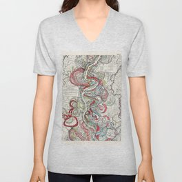 Beautiful Vintage Map of the Mississippi River Unisex V-Neck
