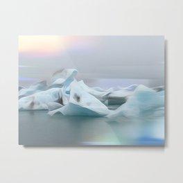 Icelandic Icebergs Metal Print