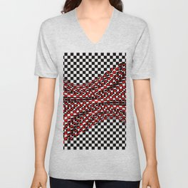 black white red Unisex V-Neck