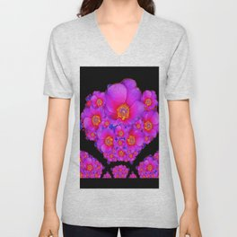 Colorful Purple-Red Fuchsia Flowers Black Modern Art Design Abstract Unisex V-Neck