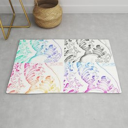 The Great Wave Sketch Color Block Collage Rug
