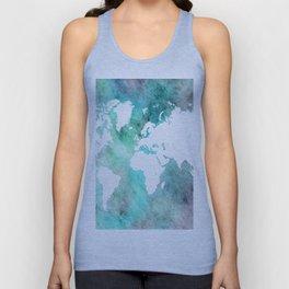 Design 62 World Map Turquoise Aqua Unisex Tank Top