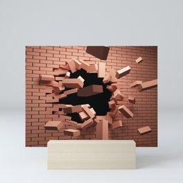 3D Red Brick Wall Bursting Shattering Ultra HD Mini Art Print