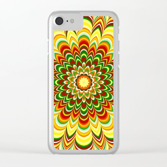 Colorful flower striped mandala Clear iPhone Case