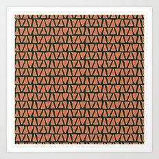 Desert Triangles - Geometric Orange and Blue Pattern Art Print