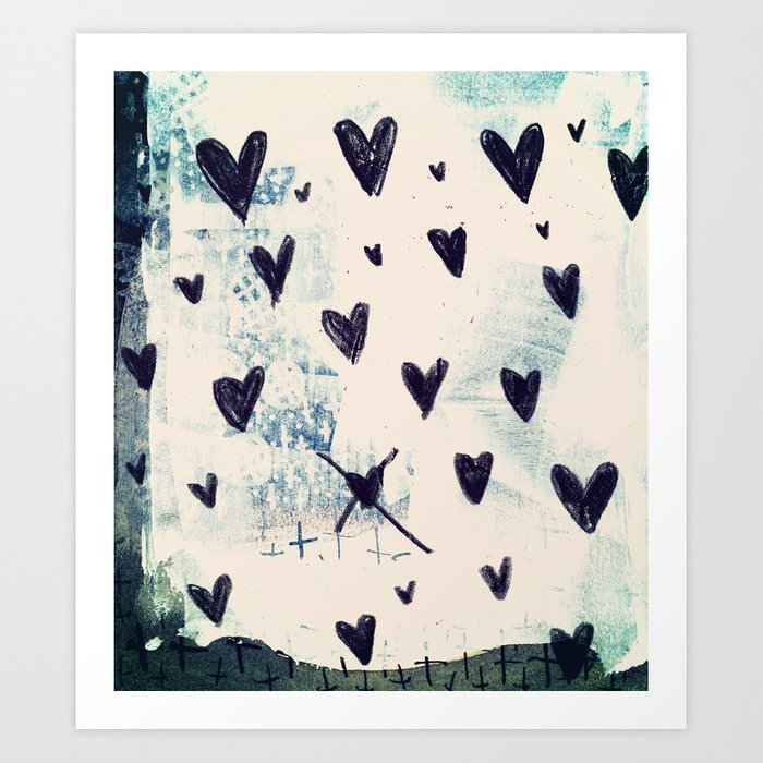 Black Hearts Art Print