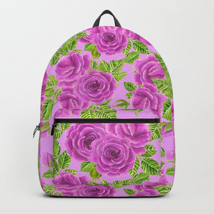 Violet roses watercolor pattern design Backpack