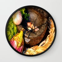 vegetables Wall Clocks featuring vegetables by  Agostino Lo Coco