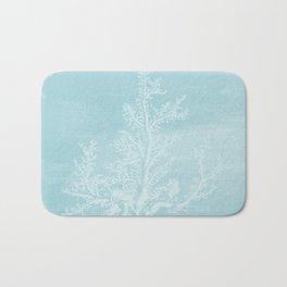 White Coral on Pale Blue Bath Mat