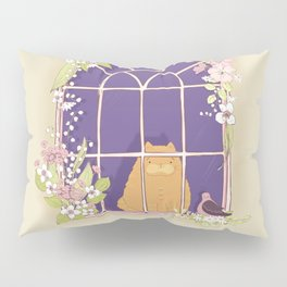Kitty Cat In A Springtime Window With A Fancy Friend Pillow Sham