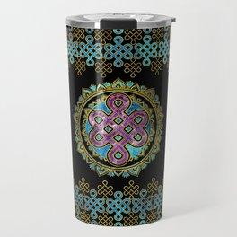 Endless Knot in Mandala Lotus shape Travel Mug