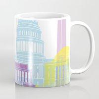 washington dc Mugs featuring Washington DC skyline pop by Paulrommer