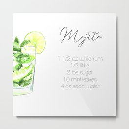 Cocktail Recipes. Mojito. Square Metal Print