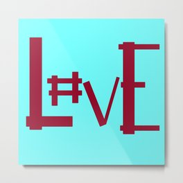 Baby Blue Hashtag L0ve Metal Print