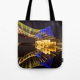 Footbridge in Kiev at night. abstract shot Tote Bag