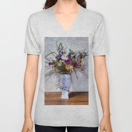 Mixed Flowers in a Vase. (Painting) Unisex V-Neck
