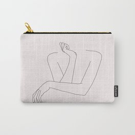 Woman's crossed arms line drawing - Anna Natural Carry-All Pouch