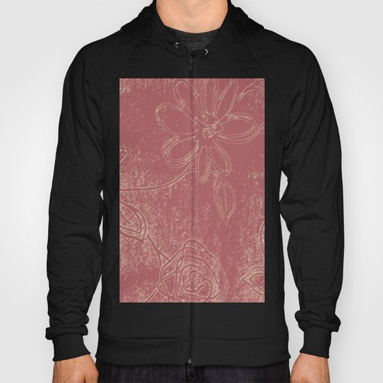 Light pink abstract design vintage velvet look with flowers Hoody