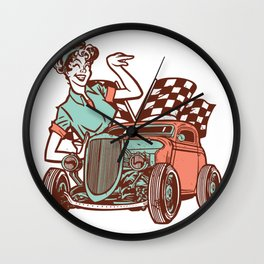 Car with Pinup Girl Wall Clock