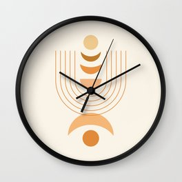 Moon Phases in Earthy Themed 3 Wall Clock