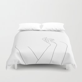 Hand and body illustration - Alma Duvet Cover