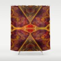 tarot Shower Curtains featuring Tarot card XI - Lust by Lucia
