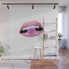 Pink lips and tasty lollipop Wall Mural