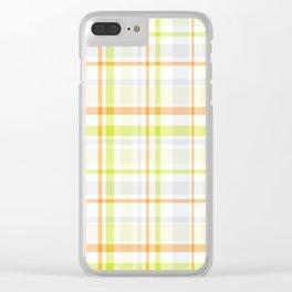 Orange Blossom Plaid Clear iPhone Case