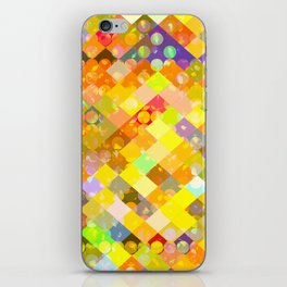 geometric square pixel and circle pattern abstract in yellow orange red blue iPhone Skin