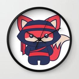 Kawaii Fox Ninja Wall Clock
