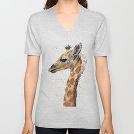 Giraffe Watercolor Cute Baby Animals Unisex V-Neck