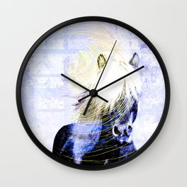 447 Abstract Periwinkle Horse Wall Clock