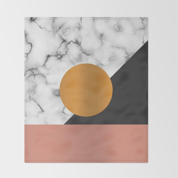 Marble & metals Throw Blanket