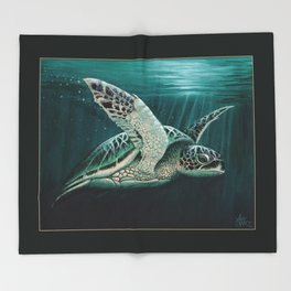 """""""Moonlit"""" by Amber Marine - Sea Turtle, Acrylic Painting, (Copyright 2015) Throw Blanket"""