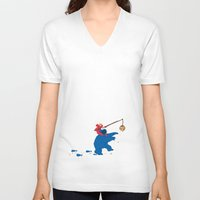 cookie monster V-neck T-shirts featuring Cookie Monster Donkey - Larger Placement by OneWeirdDude